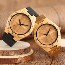 Fashion Mens Watches Double Semicircle Face Nature Wooden Watch 100% Top Bamboo Modern Male Clock Real Leather Band Relogios