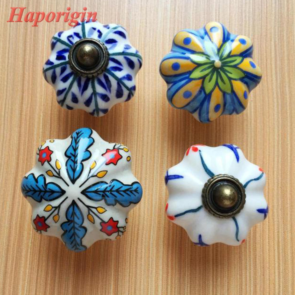 2pcs Ceramic Kids Cabinet Knobs Cupboard Handles Furniture Drawer Knobs  Handle Kitchen Cabinet Pulls Hand Painted Country Leaf