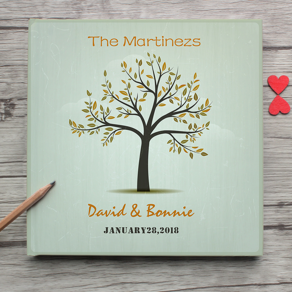 Personalized Wedding Guest Book Alternatives,Custom Family Name And Date With Tree White Wedding Guest Book Photo Album Sign In