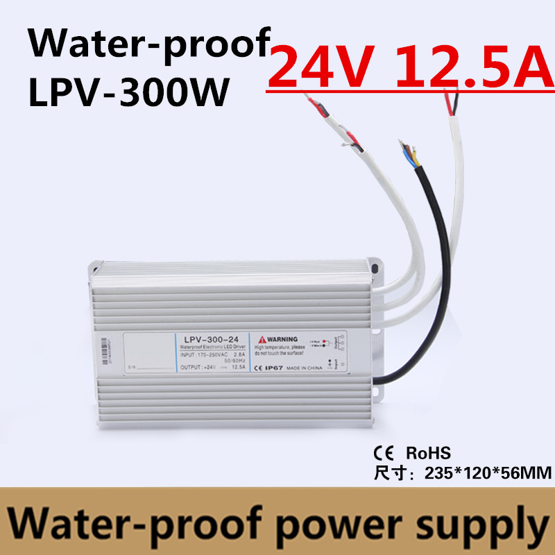 CE Approved 300w 24v 12.5a LED Power Supply Waterproof LED Driver LED Power Transformer LED Power Source IP67 LPV 300 24