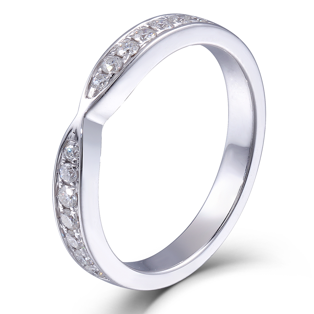TransGems 2.85MM Width Lab Grown Moissanite Diamond Half Eternity Anniversary Wedding Band Platinum Plated Silver for Women transgems 1ct carat lab grown moissanite diamond jewelry wedding anniversary band solid white gold engagement ring for women