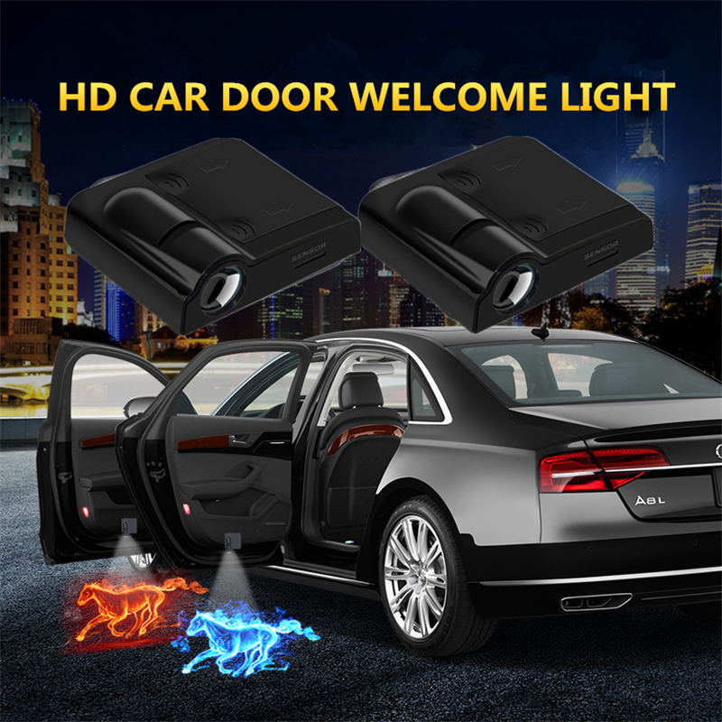 A Set Wireless Car Door Laser Projection Photo Punching Lamp Door Welcome Logo Ghost Shadow Led Lights Vehicle Shadow ForGeneral