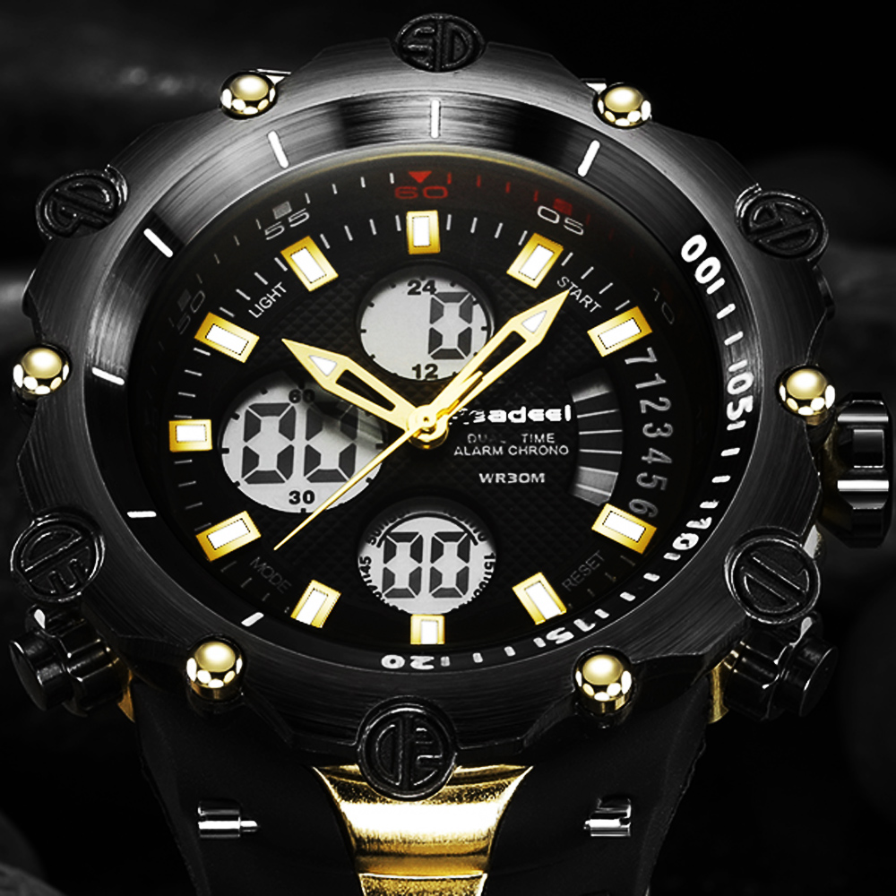 Top Luxury Brand Men Military Waterproof Rubber LED Sports Watches Men's Clock Male Wrist Watch relogio masculino 2017