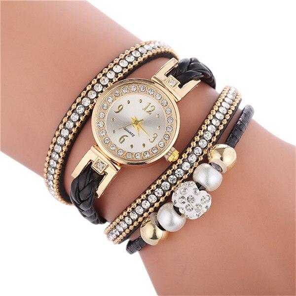 Relogio браслет часы для женщин обернуть вокруг модный браслет модное платье Дамские женские наручные часы relojes mujer часы для подарка - Цвет: Black