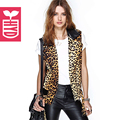 HYD 2016 Rock Girls PU neck splicing Leopard grain waistcoat OL zippers vest Womens fashion Rock and roll style clothing