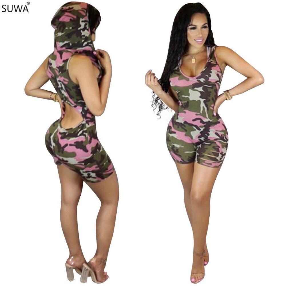 SUWA New Hot Sale Back Open Jumpsuit Women Sexy Floral Camouflage Print Bodysuit Autumn Basic Tops Shorts Playsuit J7449K