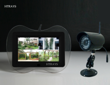 HTRAYS 2.4Ghz Wireless 7 LCD QUAD DVR,Digital Baby Monitor,4 Channels Recording/Motion Detection function 1camera+1monitor