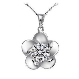 2016 fashion plum flower design big shiny zircon 925 sterling silver ladies pendant necklaces jewelry wholesale