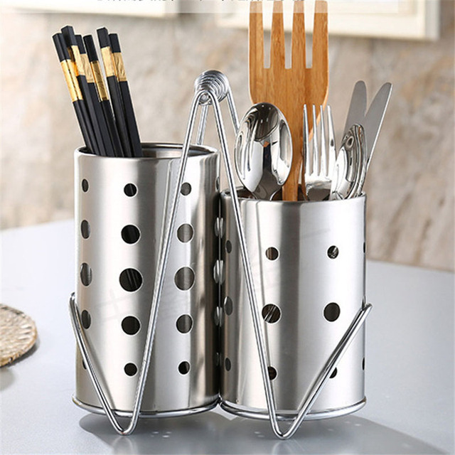 ce935940a Stainless Steel Chopsticks Cage Storage Box Set Drain Rack Spoon Fork  Organizer Bucket Kitchen Supplies TB