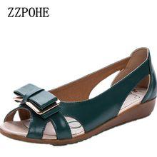 Sommer neue bogen mutter flache sandalen mit leder mode frauen fischkopf sandalen in die ältere komfortable freizeitschuhe 41 42