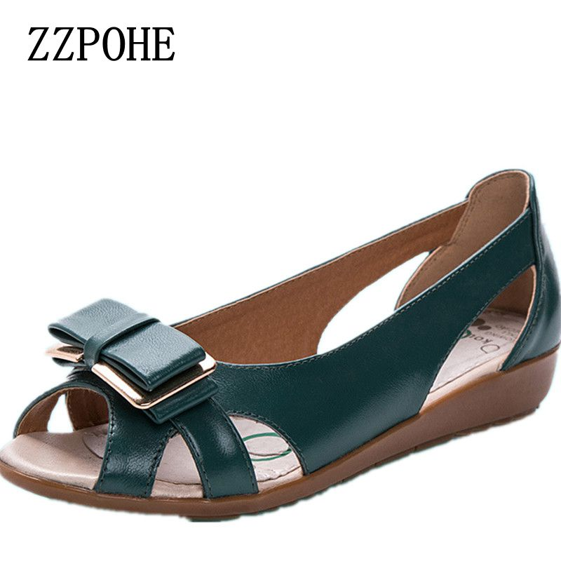 ZZPOHE Summer new bow mother flat sandals leather fashion women's fish head sandals elderly comfortable casual women shoes 41 42 the new type of diamond mother sandals lady leather fish mouth flowers with leather high heeled shoes slippers women shoes