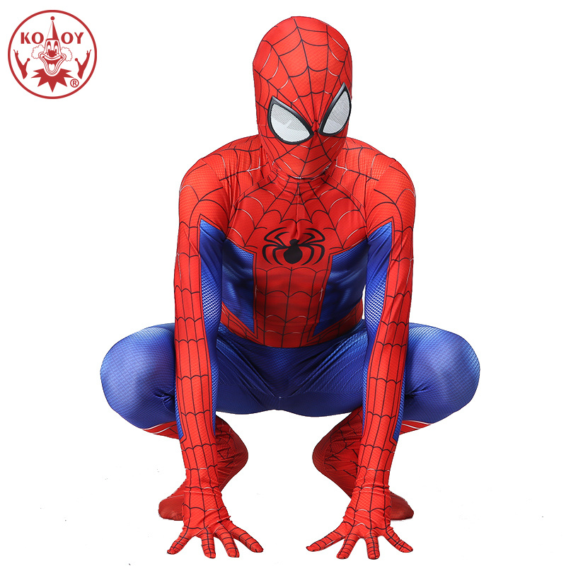 Spider-Man Peter Parke Cosplay Costume Zentai Jumpsuit Halloween Fullbody Suit 3D printed Fancy Dress Boys