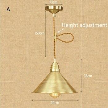 Cobre Americano Vintage Colgante Luz Edison Industrial Decoración Loft Luminaria Comedor Lámpara Colgante Accesorios De Iluminación Para El Hogar