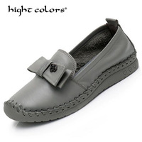 2019 Fashion Women Genuine Leather Loafers Women BLACK BROWN GRAY Casual shoes Handmade Soft Comfortable Shoes Women Flats