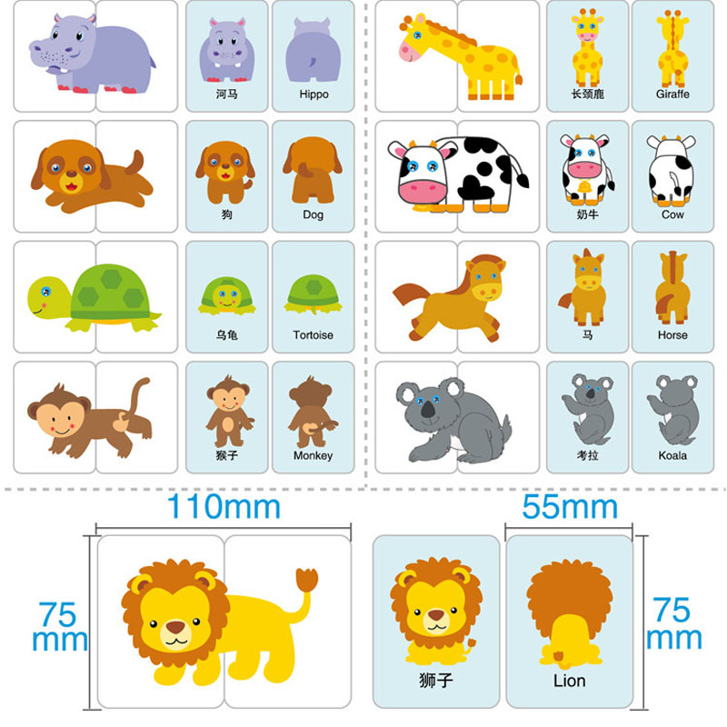 New Baby Kid Wooden Cognitive Learning English Card Vehicl/Fruit/Animal/Life Set Early Learning Education Toys for Children Gift