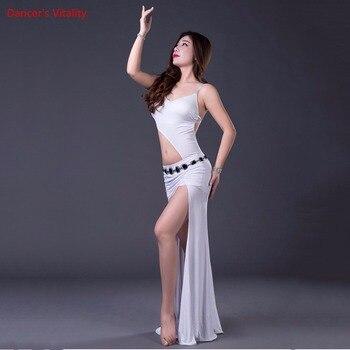 2018 Top Thời Trang New Tribal Phụ Nữ Sexy Belly Khiêu Vũ Trang Phục váy Sân Khấu Câu Lạc Bộ Một mảnh Chia Dài Ăn Mặc