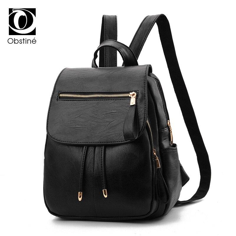 Black Female Backpack for Teens Backpacks Woman 2018 Bagpack for Girls PU Leather Backbag Bags Ladies Small Cool Back Pack Women
