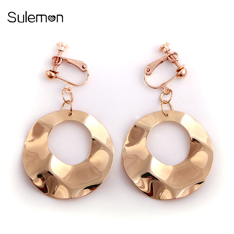 Us 1 17 65 Off Geometric Round Clip Earrings No Ear Hole Metal Water Ripple Rounds Without Piercing Women Minimalist Jewelry Ce117 In