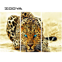 ZOOYA DIY Full Diamond Embroidery Painting Cross Stitch Triptych Paintings Cross Stitch Animals Blue Eye Striped Leopard RF880