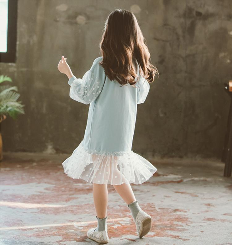 Kids Girls Dot Dress Princess Girl Lantern Sleeve Tulle Dress 2019 Party Wedding Vestidos Infant Children Clothing 3