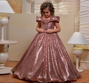Роскошные платья с блестками для девочек, розовое золото, бальное платье со шнуровкой на спине, платье маленькой принцессы на день рождения,...