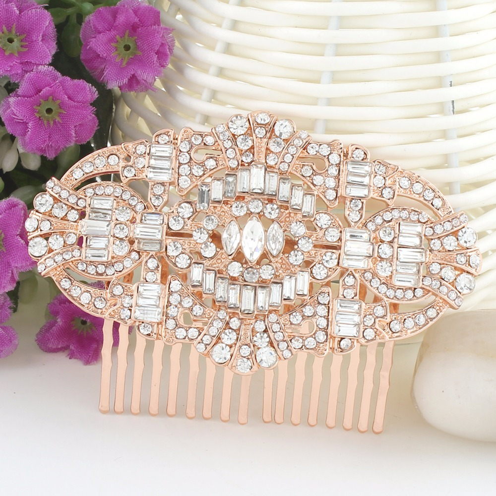 Rose gold wedding hair accessories -  Bella Rose Gold The Great Gatsby Bridal Hair Comb Austrian Crystal Wedding Hair Accessories Party Wearing