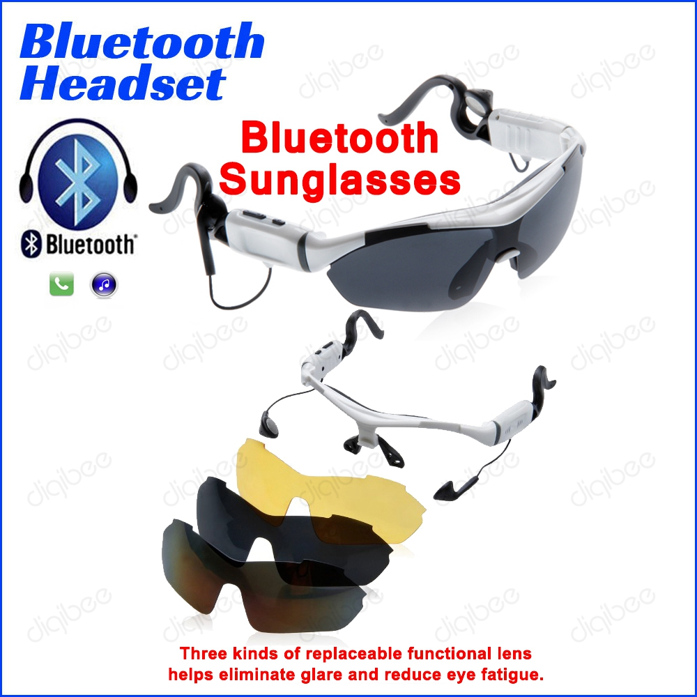 Sports Cycling Goggles Running Music Sun Glasses with 3 Lens Bluetooth Sunglasses Headset Touch Key For iPhone Samsung HTC LG gurensye brand new design big frame colourful lens sun glasses outdoor sports cycling bike goggles motorcycle bicycle sunglasses