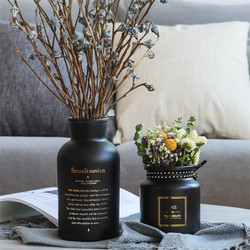 Nordic Black Glass Vases Hydroponics Plant Flower  Home Decor  for Artificial Flower Bouquet with Vase Wedding Table Decoration