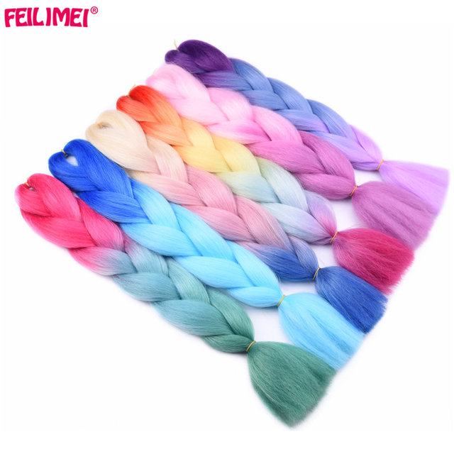 Feilimei Three Tone Colored Crochet Hair Extensions Synthetic Heat Resistant Crochet Braids Ombre Jumbo Braiding Hair Extensions 1
