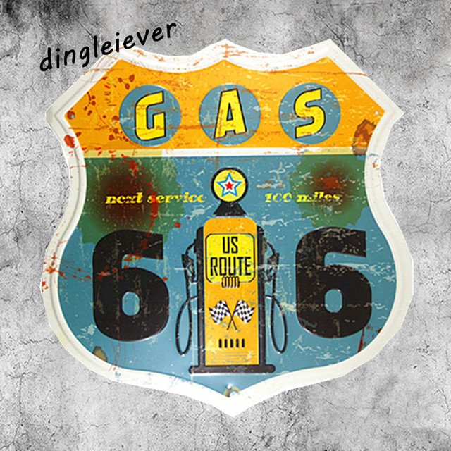 Gas Oil Station Route66 Vintage Metal Sign Garage Wall Decals Kitchen Home Decor