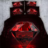 Red Diamond Schwarze Bettwäsche-sets 3D Druck Tröster Abdeckung Sets Twin Voll Königin König Größen Bettwäsche 3/4 Stücke 500TC Mädchen bettdecke