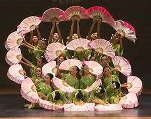 Image 2 - الصينية التقليدية البوليستر المشجعين الحجاب مع 2 الجانبين التدرج اللون المرحلة تظهر الدعائم المشجعين مزدوجة الجانب ألوان مختلفة