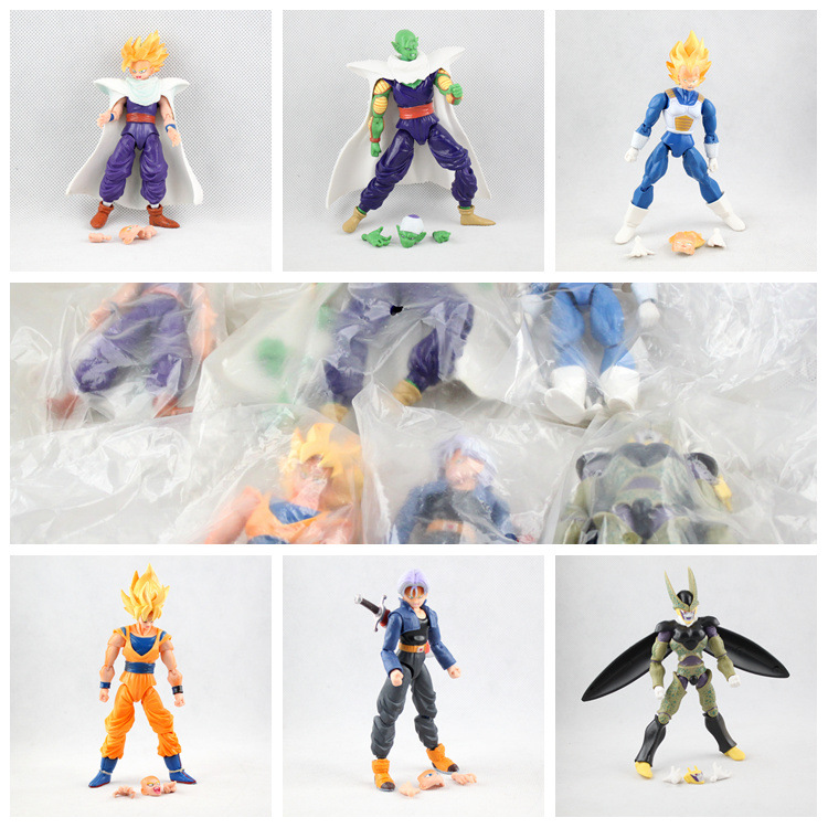 Anime Dragon Ball Z Joint Movable Vegeta Piccolo Son Gohan Son Goku Trunks PVC Action Figure Cartoon Toys Collectibles 6pcs/set