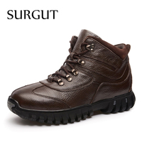 SURGUT Genuine Leather Military Men Boots Combat Men Infantry Tactical Army Quality Boots Supper Warm Fur