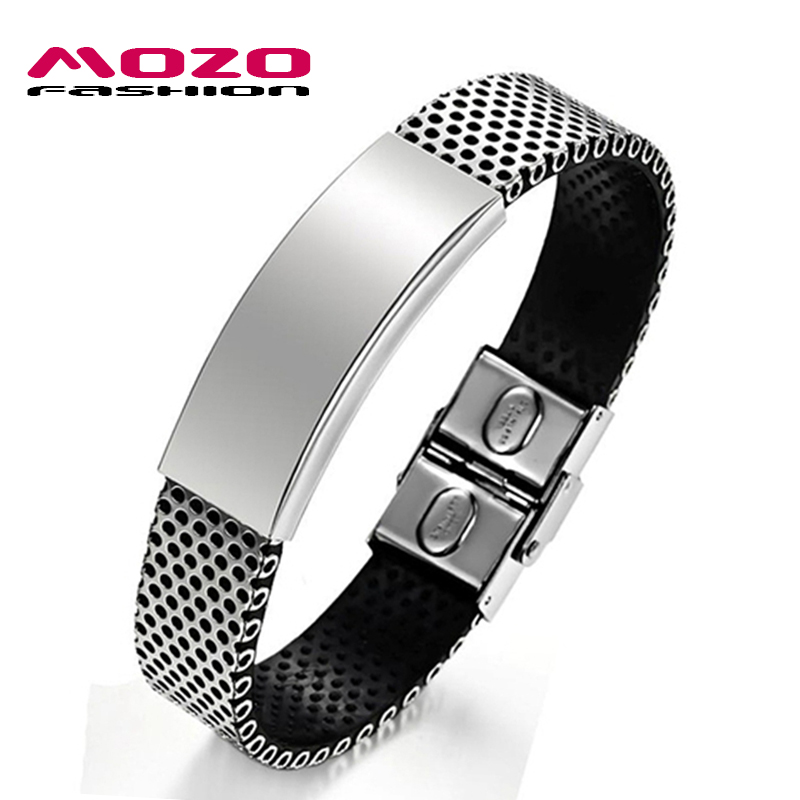 MOZO FASHION Simple Male Charm Jewelry Stainless Steel PU Leather Bracelet Man Silver Bracelets Bangles for Men Gift MPH757