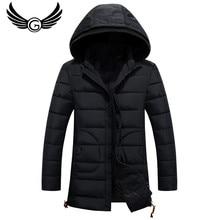 GustOmerD 2016 Hoodied Winter Jacket Men Fashion Design Slim Men Clothing Zipper Coat Long Overwear Coat M-3Xl