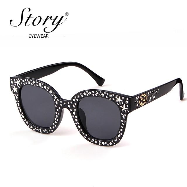 c3afa05107 STORY 2018 Rhinestone Sunglasses Women Brand Designer Diamond Oversized Sun  Glasses Full Star Black Shades For Men Female UV400