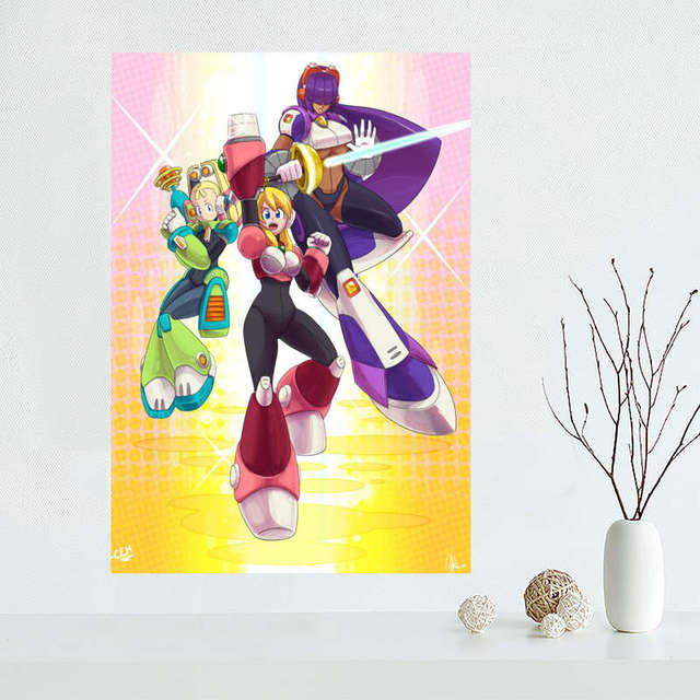 Custom megaman Canvas Painting Poster Cloth Silk Fabric Wall Art Poster for Living Room Home Decor 2