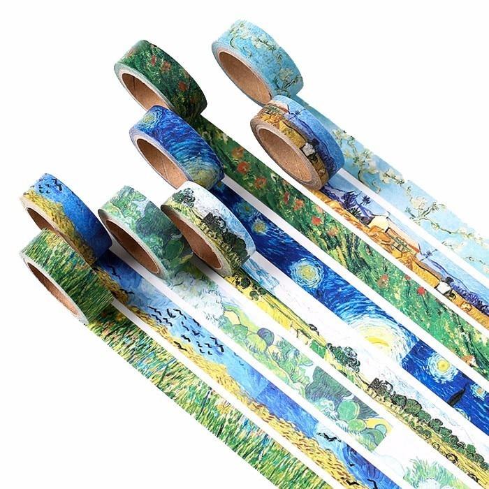 1 PCS Size 15mm*7m Washi Tapes DIY Van Gogh Painting Paper Masking Tape Decorative Adhesive Tapes Scrapbooking Stickers
