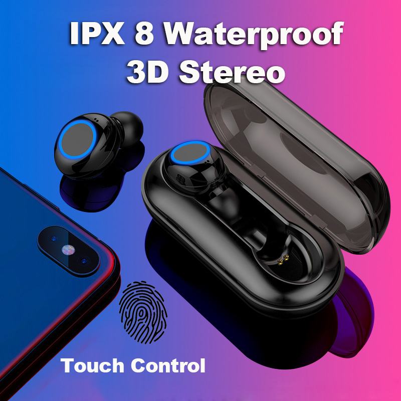 Wireless Earphone, Touch Control Bluetooth Headset Noise Cancelling IPX 8 Waterproof Stereo in-Ear Earphone for Xiaomi iPhone цена 2017