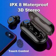Беспроводной наушники, Bluetooth с сенсорным управлением гарнитура Шум отмена IPX 8 Водонепроницаемый стерео вкладыши наушники Xiaomi iPhone