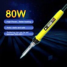 Electric Soldering Iron 80W Adjustable Temperature Welding Iron with LCD Display Soldering Iron Accessories EU Standard 1Pcs
