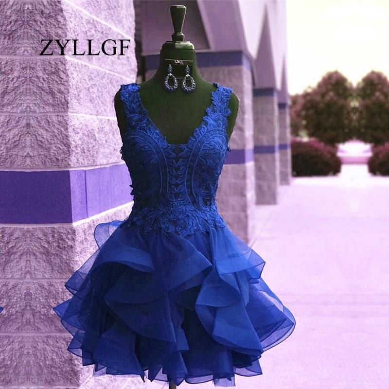ZYLLGF bleu Royal dentelle courte robes de bal 2019 dentelle volants Mini robe pour bal col en v robe de bal RS142