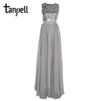 Tanpell Long Evening Dress Cheap Chiffon Floor Length Party Gown Scoop Sleeveless Beaded Silver Sequins A