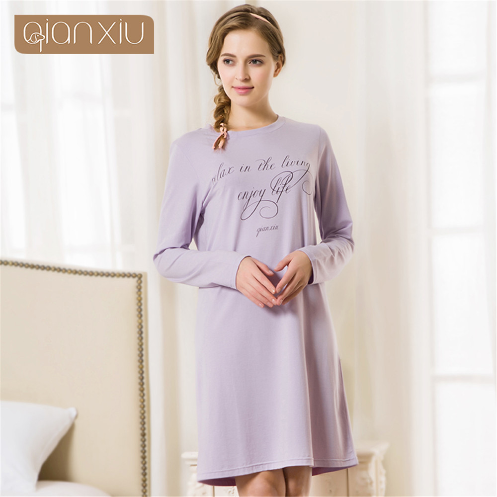 Brand Women cotton vintage   nightgowns     sleepshirts   for women Printed long sleeve   nightgown   sleep lounge stitch   nightgown   lingerie