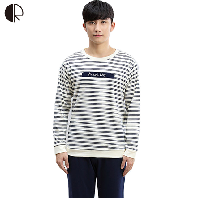 Cotton Long Sleeve O-neck Pajama For Men Spring Autumn Men Pajamas Set Women Sleepshirts Couple Striped Sleepwear Homewear AP377
