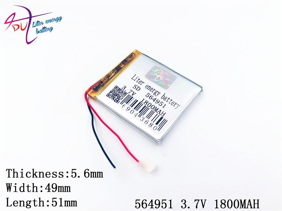 3,7 V 1800 Mah 564951 555050 Liter Energie Lithium-polymer Li-po Li Ionen Akku Zellen Für Mp5 Gps Mobile Bluetooth Digital Batterien Batterien