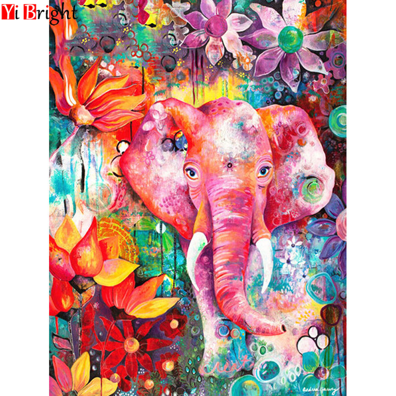 5D Diamond Painting Full Square Elephant Diamond Embroidery Full Display Animal Diamond Mosaic Picture Rhinestone  XY1(China)