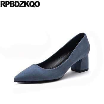 Gray Size 4 34 Court Thick Colourful Suede 3 Inch Royal Blue Women High Heels Pumps Office Nude Shoes Pointed Toe Medium 33