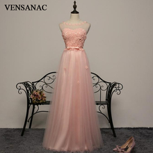 VENSANAC 2018 Flowers Pearls Illusion O Neck A Line Long Evening Dresses Party Lace Bow Sash Backless Prom Gowns